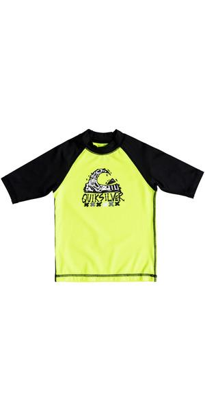 2018 Quiksilver Boys Bubble Dream Short Sleeve Rash Vest SAFETY YELLOW EQKWR03024