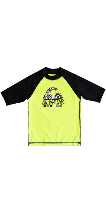Quiksilver Boys Bubble Dream Short Sleeve Rash Vest SAFETY YELLOW EQKWR03024