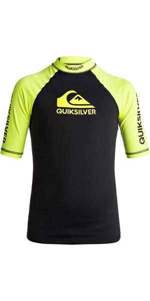 2018 Quiksilver Boys On Tour Short Sleeve Rash Vest SAFETY YELLOW EQBWR03039