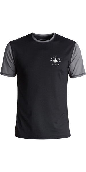 2018 Quiksilver Color Blocked Short Sleeve Surf Tee BLACK EQYWR03089