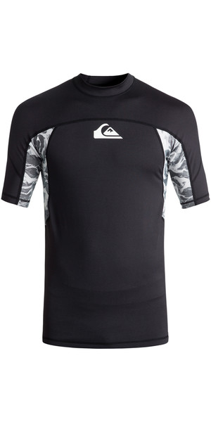 2018 Quiksilver Slash Short Sleeve Rash Vest BLACK EQYWR03090