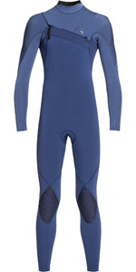 2020 Quiksilver Junior Boys Highline 4/3mm Azip Ltd Wetsuit Iodine Blue / Cascade Blue EQBW103045