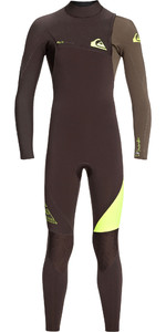 2021 Quiksilver Junior Boys Highline Lite 3/2mm Zipperless Wetsuit Velvet Brown / Dark Beech EQBW103036