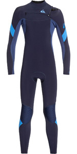 2020 Quiksilver Junior Boys Syncro 4/3mm Chest Zip Wetsuit Dark Navy / Iodine Blue EQBW103053