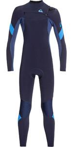 2019 Quiksilver Junior Boys Syncro 4/3mm Chest Zip Wetsuit Dark Navy / Iodine Blue EQBW103053