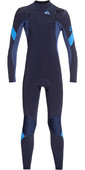 2020 Quiksilver Junior Boys Syncro 3/2mm Chest Zip Wetsuit Dark Navy / Iodine EQBW103051