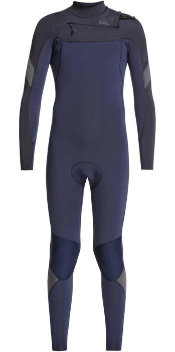 2021 Quiksilver Junior Boys Syncro 3/2mm Chest Zip Wetsuit EQBW103051 - Black Navy