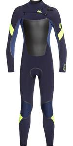 2020 Quiksilver Junior Boys Syncro Plus 4/3mm Chest Zip Wetsuit Dark Navy / Iodine Blue / Yellow EQBW103048