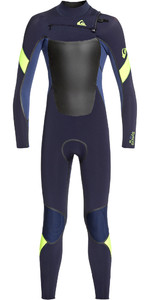 2019 Quiksilver Junior Hooded Syncro Plus 5/4/3mm Chest Zip Wetsuit Dark Navy / Iodine Blue / Yellow EQBW203003
