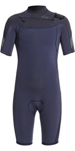 2021 Quiksilver Junior Syncro 2mm Chest Zip Shorty Wetsuit EQBW503015 - Black Navy