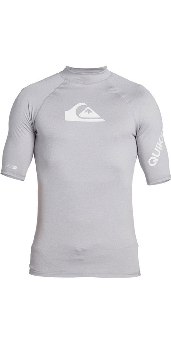 2021 Quiksilver Mens All Time Short Sleeve Rash Vest EQYWR03228 - Sleet Heather