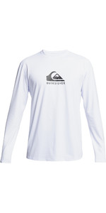 2021 Quiksilver Mens Solid Streak Long Sleeve Rash Vest EQYWR03311 - White