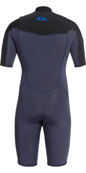 2021 Quiksilver Mens Syncro 2mm Chest Zip Shorty Wetsuit EQYW503023 - Black Navy / India Ink