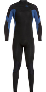2020 Quiksilver Mens Syncro 3/2mm Chest Zip Wetsuit Black / Iodine Blue EQYW103085