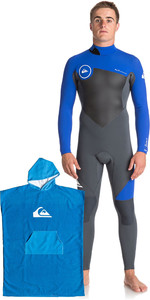 Quiksilver Mens Syncro Series 3/2mm GBS Back Zip Wetsuit & Microfiber Hooded Towel Gunmetal / Blue