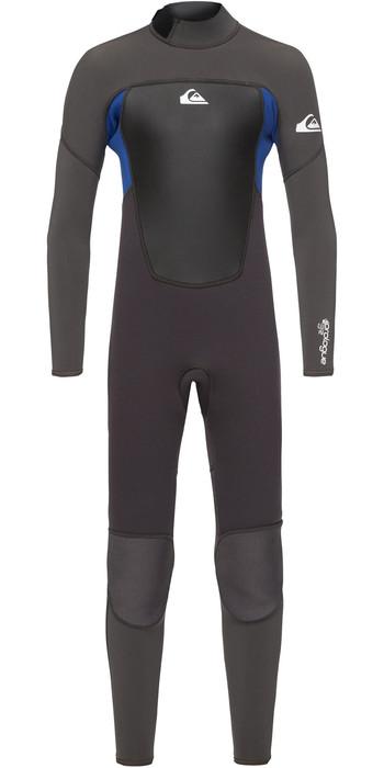 2021 Quiksilver Junior Boys Prologue 4/3mm Back Zip Wetsuit Jet Black / Nite Blue EQBW103038