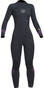 2019 Gul Response FX Womens 5/4mm GBS Back Zip Wetsuit Black / Mulberry RE1266-B1