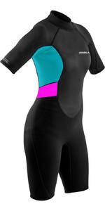 2021 Gul Womens Response 3/2mm Flatlock Shorty Wetsuit RE3318-B9 - Black / Cyan