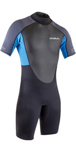 2021 Gul Mens Response 3/2mm Flatlock Shorty Wetsuit RE3319-B9 - Black / Blue Aster