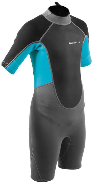 2021 Gul Junior Response 3/2mm Back Zip Shorty Wetsuit RE3322-B9 - Grey / Blue Aster