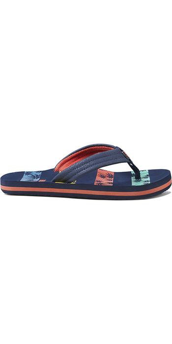 2021 Reef Kids Ahi Flip Flops RF0A3VBL - Palm Stripe