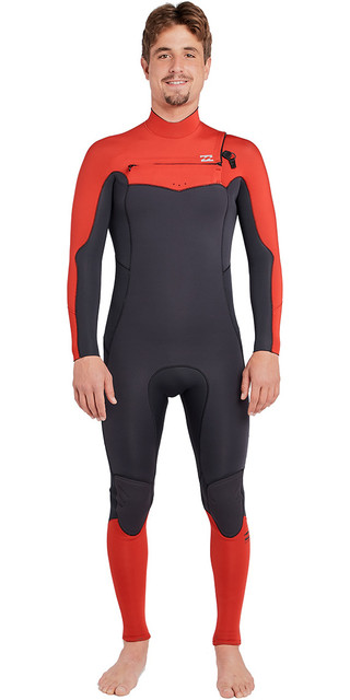 2018 Billabong Furnace Absolute 3/2mm Chest Zip Wetsuit Red L43m09 Picture
