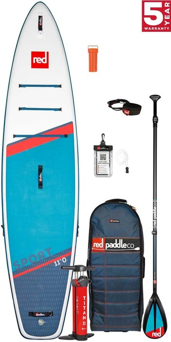 2021 Red Paddle Co Sport 11'0 Touring Stand Up Paddle Board, Bag, Pump, Paddle & Leash - Carbon / Nylon Package