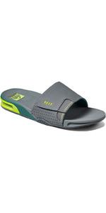 2021 Reef Fanning Slide Flip Flops CI3630 - Grey Volt
