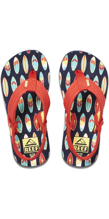 2020 Reef Toddler Little Ahi Flip Flops / Sandals RF002345 - Red Surfer