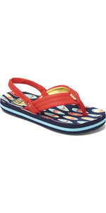 2020 Reef Toddler Little Ahi Flip Flops / Sandals RF002345 - Red Surfer