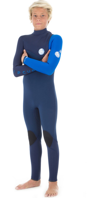 2018 Rip Curl Junior Flashbomb 3/2mm Zip Free Wetsuit Blue Wsm8ob Picture