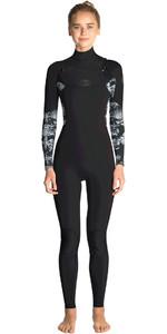 2019 Rip Curl Womens Flashbomb 4/3mm Chest Zip Wetsuit BLACK / GREY WST7FS