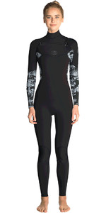 2019 Rip Curl Womens Flashbomb 3/2mm Chest Zip Wetsuit BLACK / GREY WST7ES