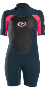 2019 Rip Curl Womens Omega 1.5mm Back Zip Spring Shorty Wetsuit Neon Pink WSP4CW