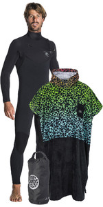 Rip Curl Mens Dawn Patrol 4/3mm Chest Zip Wetsuit + Team Poncho / Changing Robe & Small Wetsack