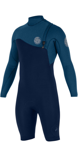 2018 Rip Curl E-Bomb Pro 2mm L / S Zip Free GBS Shorty Wetsuit Navy WSP7HE