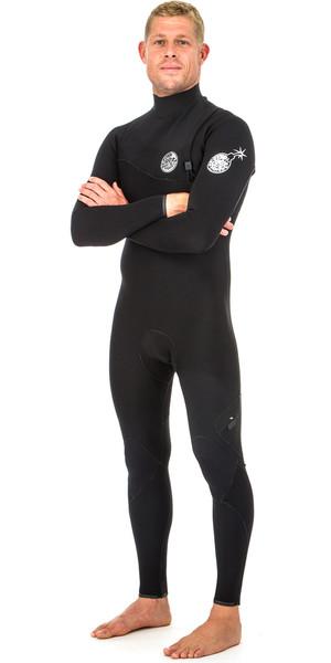 2018 Rip Curl E Bomb Pro 4/3mm Zip Free Wetsuit BLACK WSM8QE