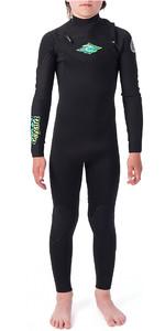 2020 Rip Curl Junior Dawn Patrol 3/2mm Chest Zip Wetsuit Black / Green WSM9KB