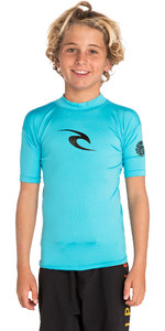 2019 Rip Curl Junior Boys Corp Short Sleeve High Neck Rash Vest Blue WLE8OB