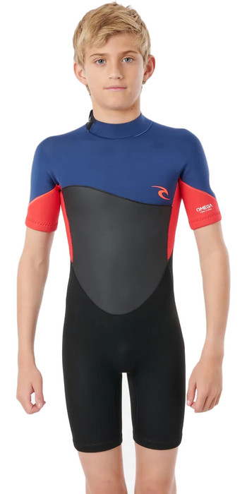 2021 Rip Curl Junior Boys Omega 1.5mm Back Zip Shorty Wetsuit WSPYFB - Neon Red