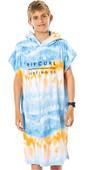2021 Rip Curl Junior Boys Print Hooded Towel / Change Robe KTWBG9 - Blue / White