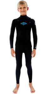 2021 Rip Curl Junior Dawn Patrol 4/3mm Chest Zip Wetsuit WSM9LB - Black / White