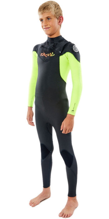 2021 Rip Curl Junior Dawn Patrol 4/3mm Chest Zip Wetsuit WSM9LB - Fluro Lemon