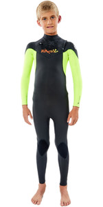 2020 Rip Curl Junior Dawn Patrol 4/3mm Chest Zip Wetsuit WSM9LB - Fluro Lemon