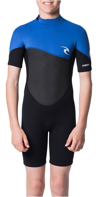 2018 Rip Curl Junior Omega 1.5mm Shorty Wetsuit Blue Wsp7fb Picture