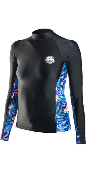 2018 Rip Curl Womens Allover Long Sleeve Rash Vest in BLACK WLE8KW