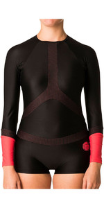 2018 Rip Curl Womens Long Sleeve BoyLeg UV Surf Lycra Suit Black / Red WLY6KW