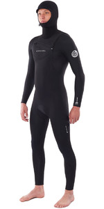 2020 Rip Curl Mens Dawn Patrol 5/4mm Hooded Chest Zip Wetsuit Black WSM9BM