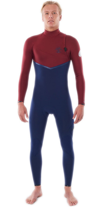 2021 Rip Curl Mens E-Bomb 4/3mm Zip Free Wetsuit WSMYWE - Navy / Red