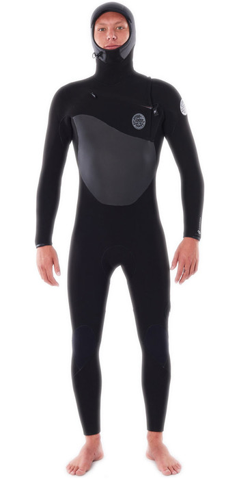 2020 Rip Curl Mens Flashbomb 6/4mm Hooded Chest Zip Wetsuit WSTYOF - Black